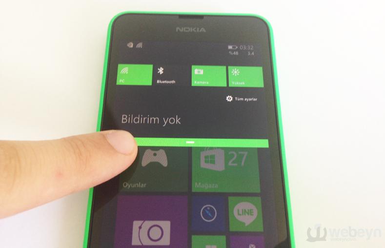 Windows Phone 8.1 ile bildirim merkezi geliyor.