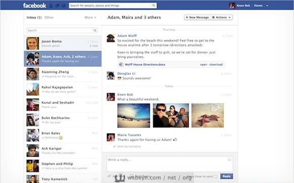 Facebook Mesajlar'ın yeni görünümü