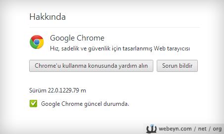 Chrome hakkında penceresi