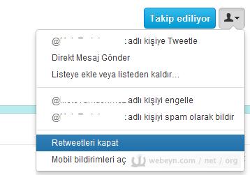 Twitter - Retweet kapatma