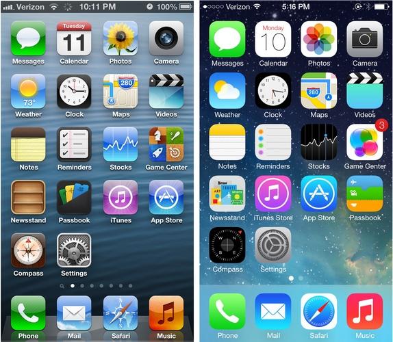 iOS 6 ve iOS 7 ekran görüntüsü